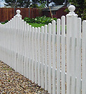 Painted palisade panel fence